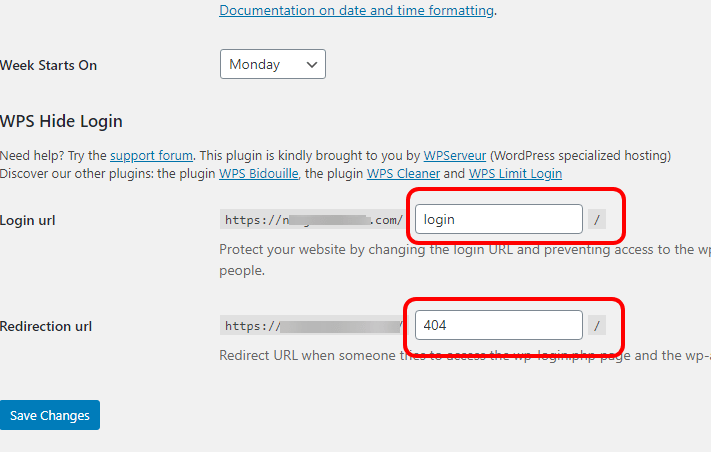 wps hide login settings page