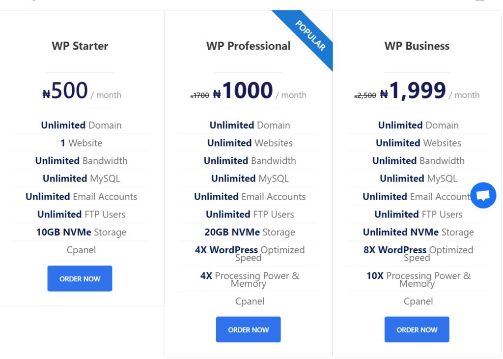wordpress hosting pricing table